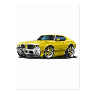 Olds Cutlass Yellow Car Postcard