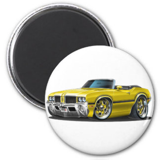 Olds Cutlass Yellow Convertible 2 Inch Round Magnet