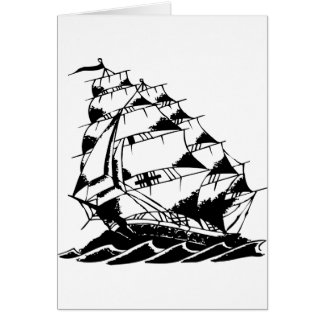 Olds Skool Tattoo Sailing Ship Navy Card