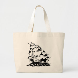 Olds Skool Tattoo Sailing Ship Navy Large Tote Bag