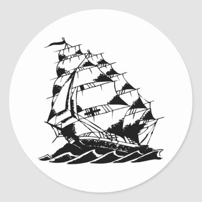 Olds Skool Tattoo Sailing Ship Navy Sticker by WhiteTiger_LLC
