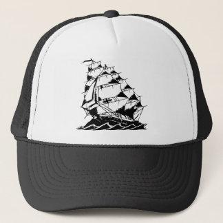 Olds Skool Tattoo Sailing Ship Navy Trucker Hat