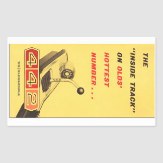 Oldsmobile 442 - vintage folder page reproduction rectangular sticker