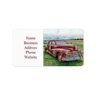 Oldsters Classic Car Vintage Automobile Old Rusty Address Label