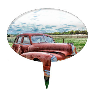 Oldsters Classic Car Vintage Automobile Old Rusty Cake Pick