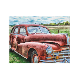 Oldsters Classic Car Vintage Automobile Old Rusty Canvas Print