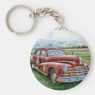 Oldsters Classic Car Vintage Automobile Old Rusty Basic Round Button Keychain