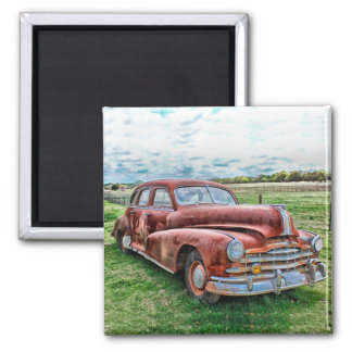 Oldsters Classic Car Vintage Automobile Old Rusty 2 Inch Square Magnet