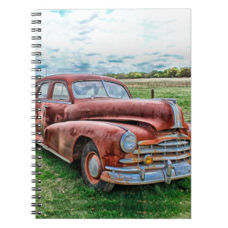 Oldsters Classic Car Vintage Automobile Old Rusty Spiral Notebooks