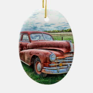 Oldsters Classic Car Vintage Automobile Old Rusty Double-Sided Oval Ceramic Christmas Ornament