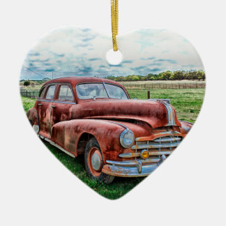 Oldsters Classic Car Vintage Automobile Old Rusty Double-Sided Heart Ceramic Christmas Ornament