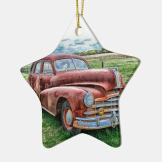 Oldsters Classic Car Vintage Automobile Old Rusty Double-Sided Star Ceramic Christmas Ornament