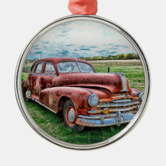 Oldsters Classic Car Vintage Automobile Old Rusty Round Metal Christmas Ornament