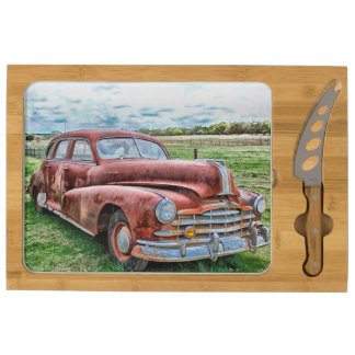 Oldsters Classic Car Vintage Automobile Old Rusty Rectangular Cheeseboard