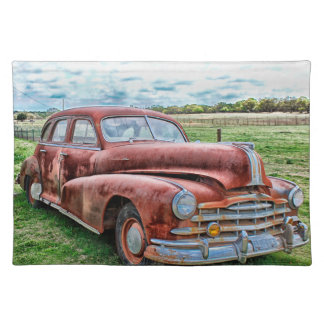 Oldsters Classic Car Vintage Automobile Old Rusty Cloth Placemat