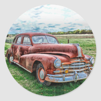 Oldsters Classic Car Vintage Automobile Old Rusty Classic Round Sticker