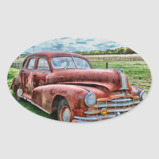 Oldsters Classic Car Vintage Automobile Old Rusty Oval Sticker
