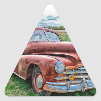 Oldsters Classic Car Vintage Automobile Old Rusty Triangle Sticker