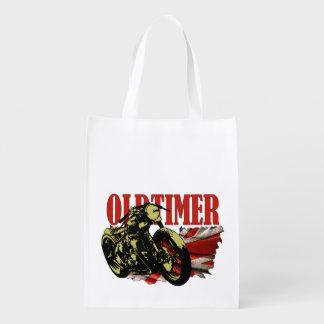 Oldtimer Bobber Grocery Bags