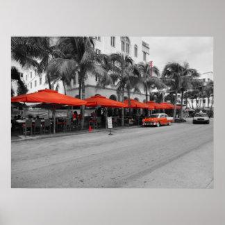 Oldtimers del sur de Miami de la playa de la impul Póster