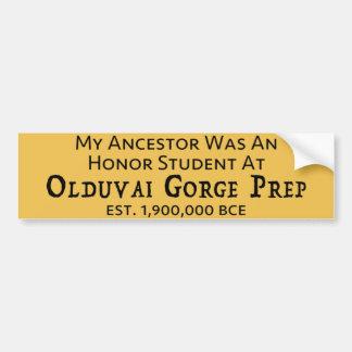 Olduvai Gorge Prep Car Bumper Sticker
