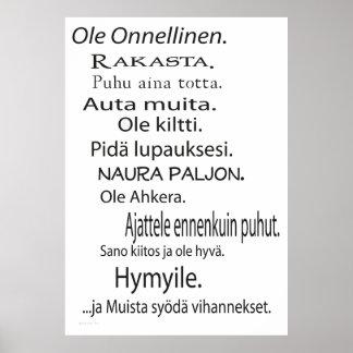 Ole Onnellinen juliste - Be Happy poster Finnish