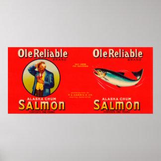Ole Reliable Brand Salmon Label- Seattle, WA Poster