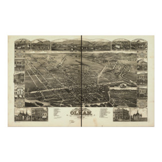 Olean New York 1882 Antique Panoramic Map Poster