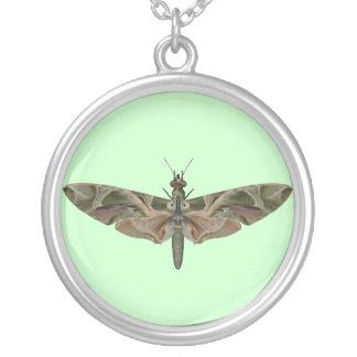 Oleander Hawk Butterfly Round Pendant Necklace