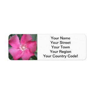 Oleander Pink Flower Return Address Label
