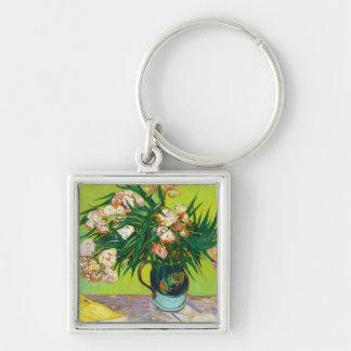 Oleander Vincent van Gogh de las ramas del tarro d Llavero Cuadrado Plateado