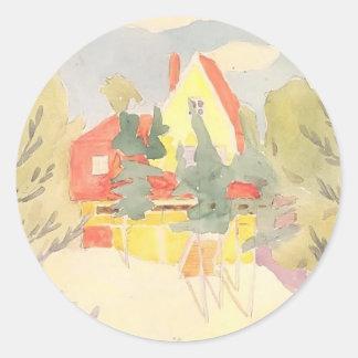 Oleksandr Bogomazov- Landscape with the house Classic Round Sticker