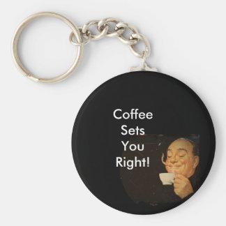 Oler el café llavero redondo tipo pin