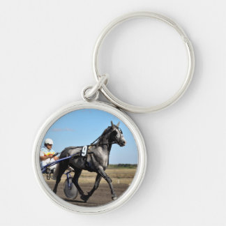Olev Grey Trotter Silver-Colored Round Keychain