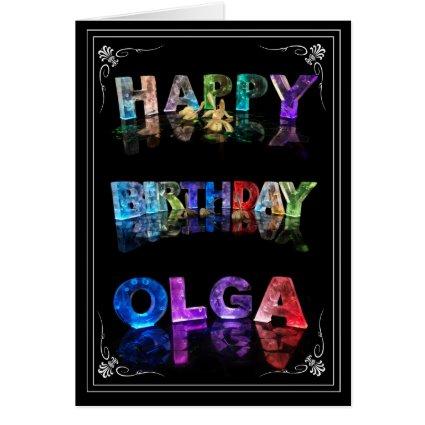 Olga - Name in Lights greeting card (Photo)