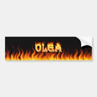 Olga real fire and flames bumper sticker design. car bumper sticker