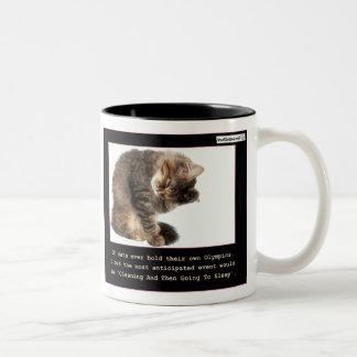 Olimpiadas del gato taza de café de dos colores