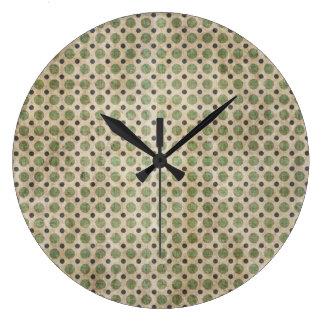 Olive and Beige Polka Dot Wall Clock