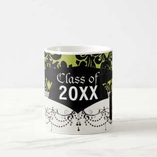 olive and black elegant ornate damask graduation coffee mug