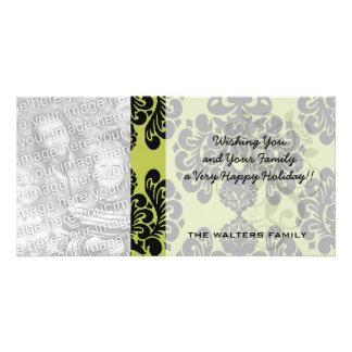 olive and black elegant ornate damask photo card