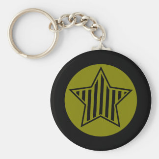 Olive and Black Star Keychain