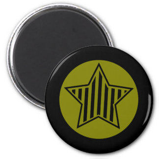 Olive and Black Star Round Magnet