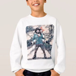 Olive and Dingo on the frozen stairs Sweatshirt