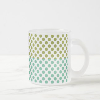 Olive and Green Polka Dots Frosted Glass Coffee Mug