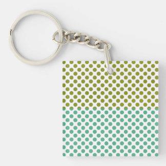 Olive and Green Polka Dots Keychain