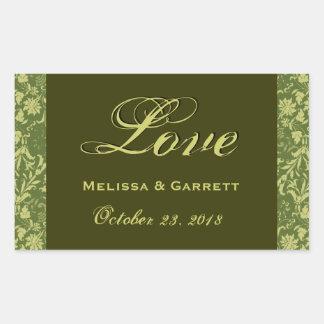 Olive and Khaki  Wedding Love Floral Damask V145 Rectangular Sticker