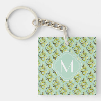Olive and Light Green Damask Pattern with Monogram Keychain
