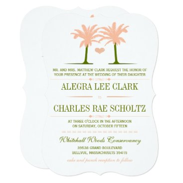 Beach Themed Olive and Peach Beach Typography Invite