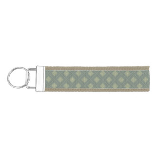 Olive and Sage Green Diamond Shapes Wrist Keychain
