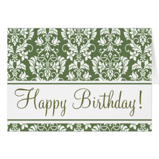 "Olive and White ""Birthday Card"" Card"